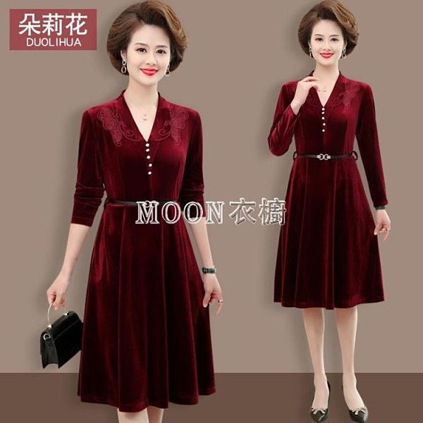 媽媽春裝長袖連衣裙中年女闊太太時尚洋氣裙子中老年女裝禮服裙子 新年禮物