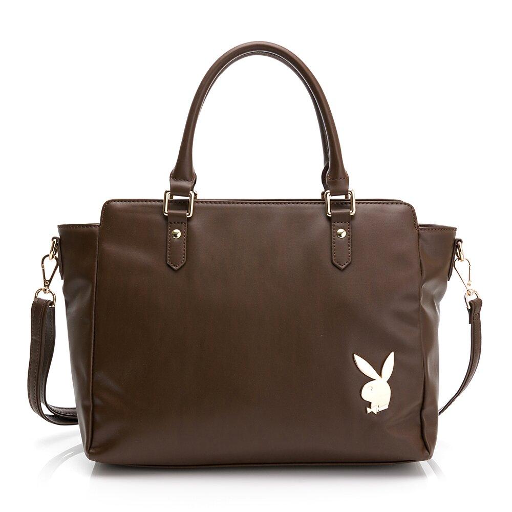 PLAYBOY-  手提包可斜背 經典兔頭系列-褐色
