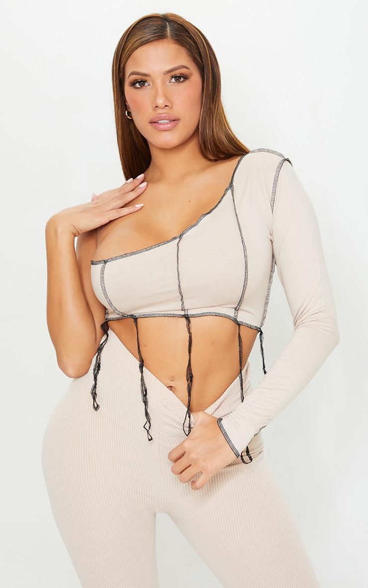 Shape Stone Jersey Contrast Stitch One Shoulder Crop Top