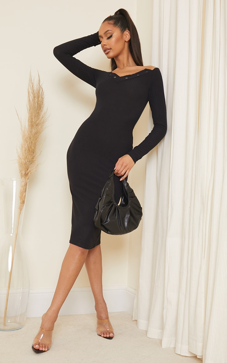 Black Ribbed Popper Detail Bardot Midi Dress