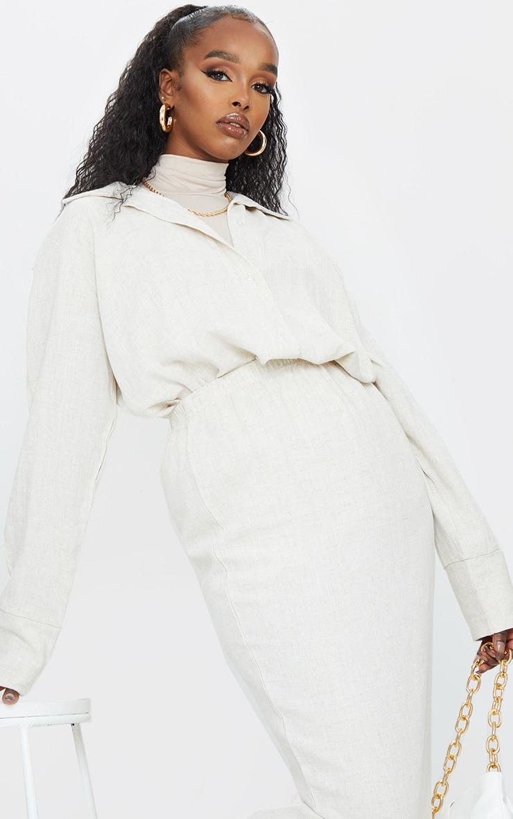 Stone Woven Longline Shirt