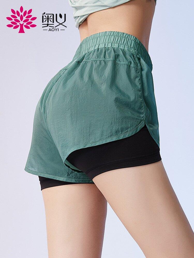 奧義寬松外穿防走光運動短褲女跑步健身兩件式運動褲瑜伽服短褲【歡慶新年】