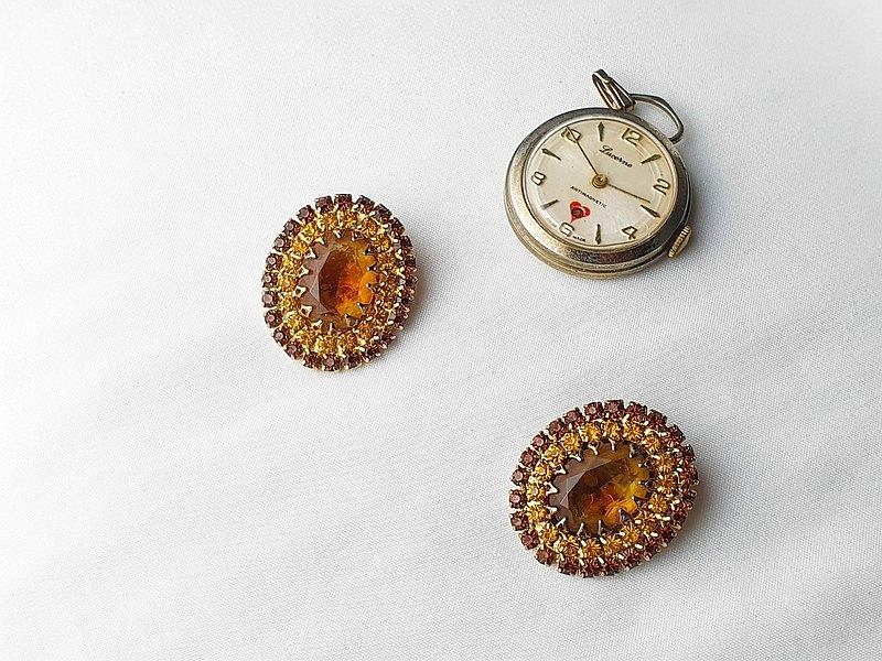 【美國帶回 西洋古董飾品】1950年代美國飾品 古典棕色水鑽耳環