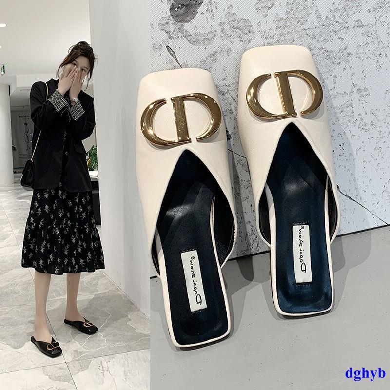 限時免運 包頭半拖鞋女夏外 穿2020年新款 平底網紅涼拖百搭 懶人時尚穆勒半托