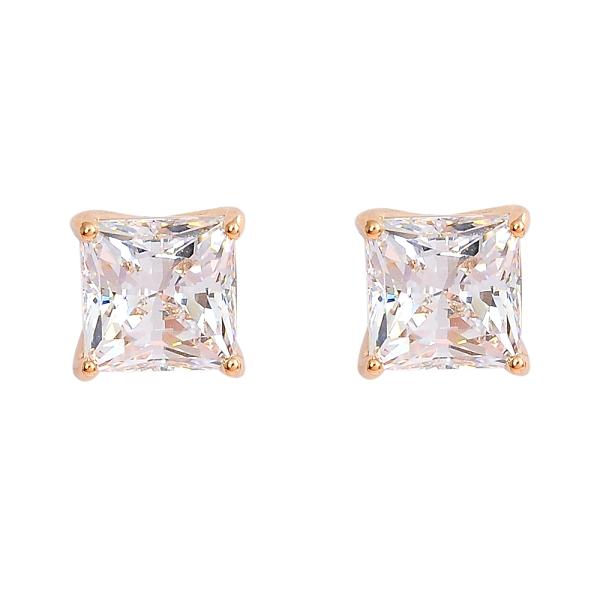 SWAROVSKI 施華洛世奇 ATTRACT璀璨水晶方型玫瑰金耳環 5431895