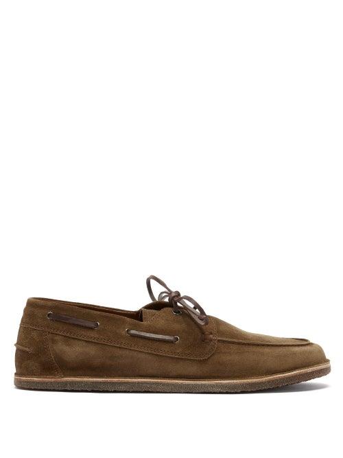 Brunello Cucinelli - Lace-up Suede Deck Shoes - Mens - Brown