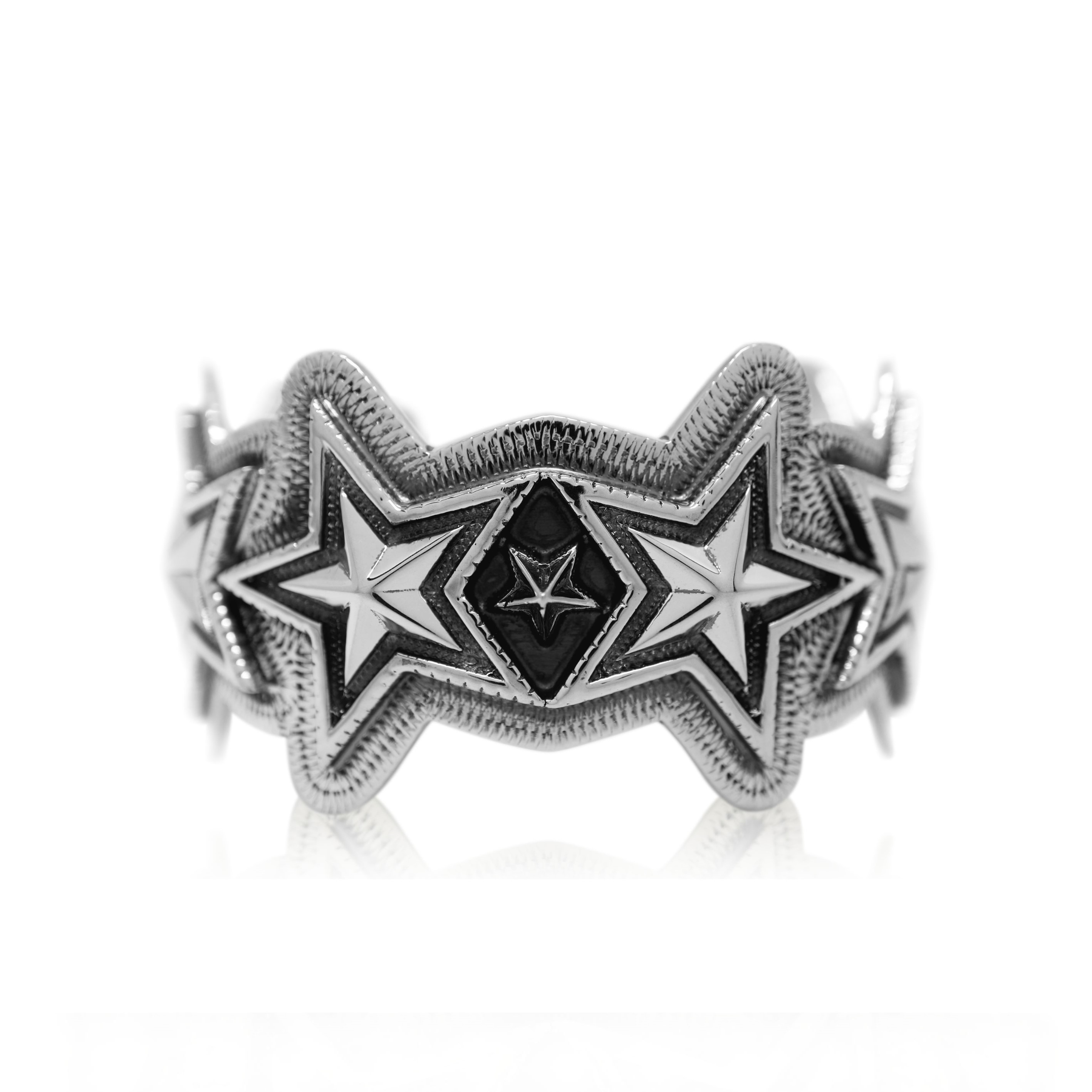 FACETED STARS & SPIKE STAR CUFF  [USD $2010]