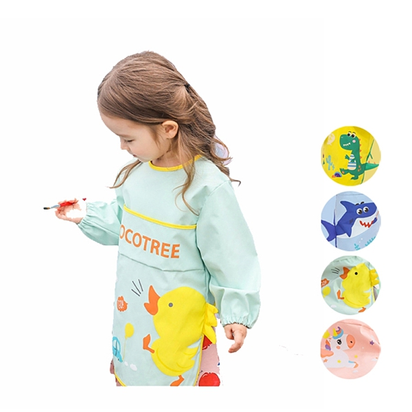 卡通側邊立體尾巴口袋畫畫衣 反穿衣 飯兜 大童 玩沙衣 兒童 中童 小童 男童 女童 橘魔法 現貨