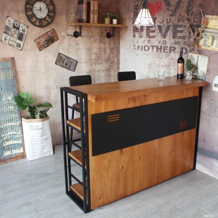 客廳餐廳玄關吧台隔斷桌實木吧台櫃廚房收納高桌收銀前台吧台桌椅