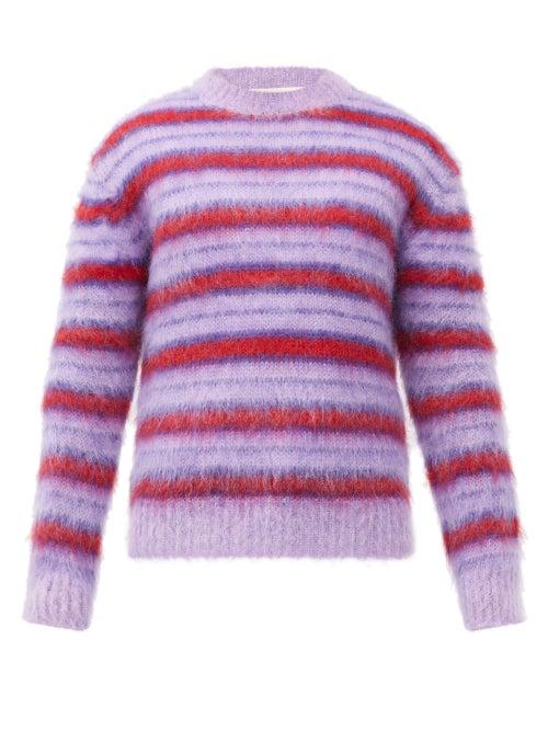 Marni - Striped Mohair-blend Sweater - Mens - Purple