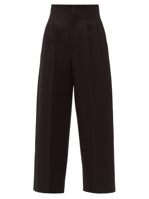 Bottega Veneta - Double-pleated Wool Wide-leg Trousers - Womens - Black