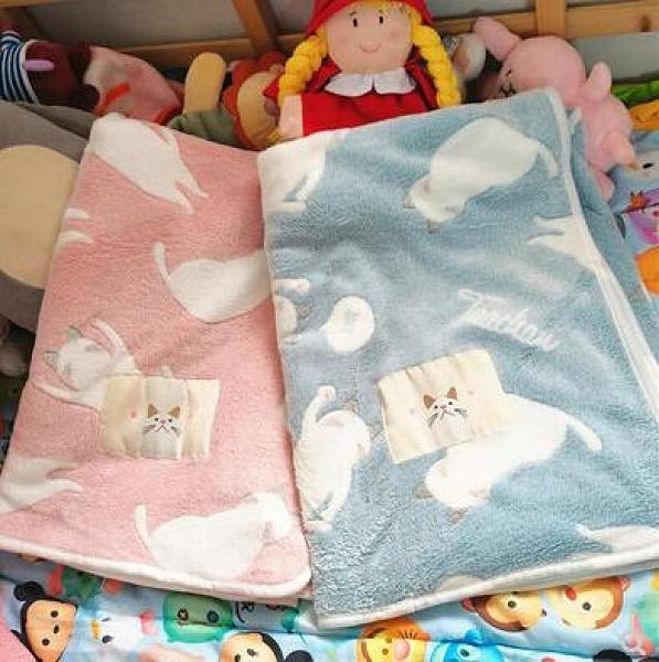 日系秋冬毛毯可愛貓咪嬰兒藍保暖沙發毯子辦公室床學生宿舍