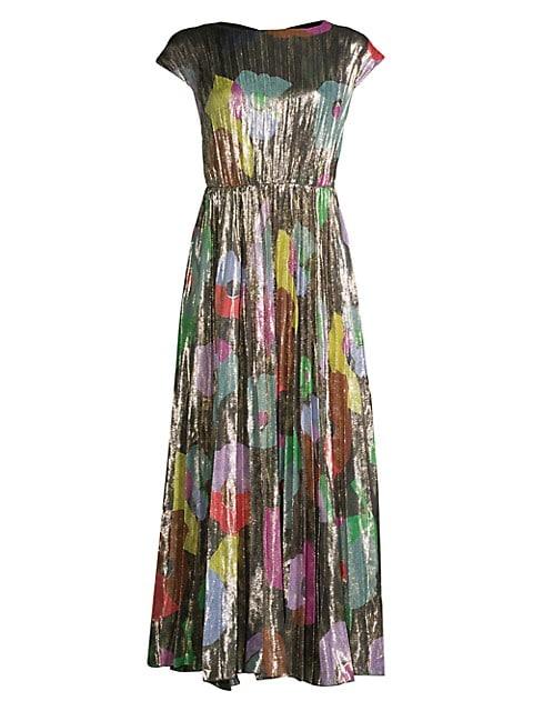 Floral Collage Silk-Blend Shimmer Dress
