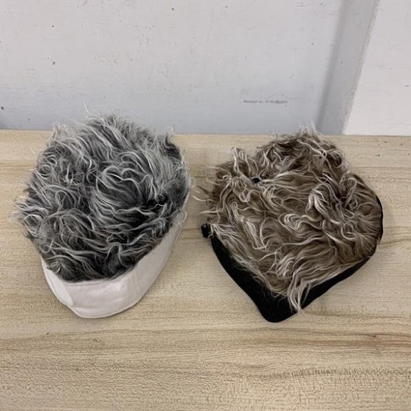 時尚冬季帶頭髮的帽子頭髮帽子一體假髮男士頭髮扎頭(777-9126)