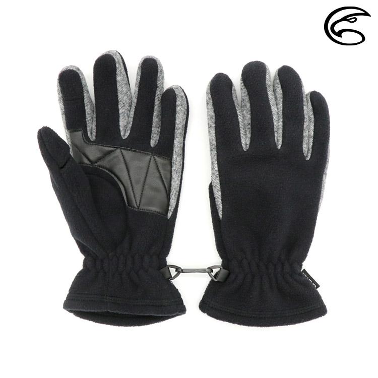 ADISI 姆食指翻指防風保暖手套 AS20023 / 黑色 / 灰色 (M-L)