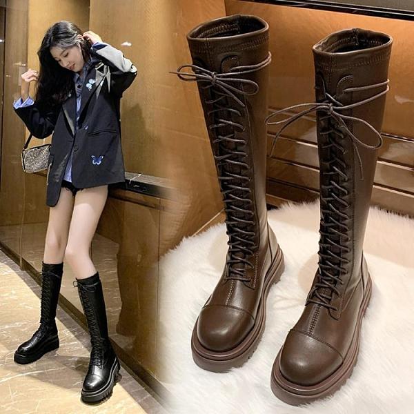 長靴女過膝2021年秋冬新款爆款長筒小個子高筒瘦瘦馬丁靴中筒騎士 貝芙莉