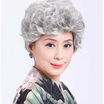 假髮扮演老奶奶媽媽 表演假髮道具白色假髮套 表演老人假髮女短髮