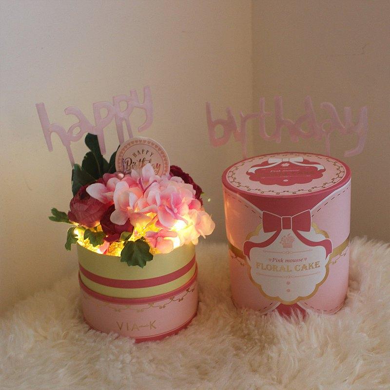 Via K Studio 派對蛋糕禮盒LED仿真花夜燈 情人節禮物 結婚禮物