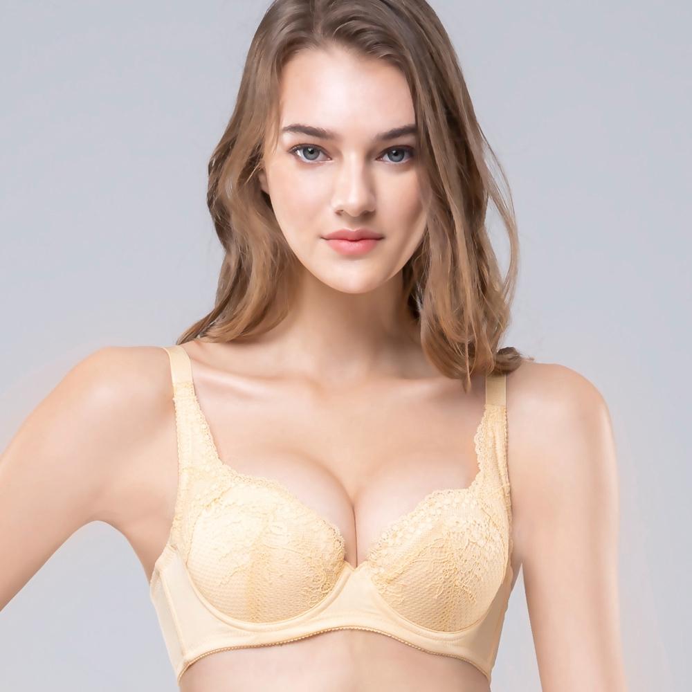 SWEAR 思薇爾 臻致心鍊 系列 B-F罩 蕾絲 包覆 內衣 (霞金色)