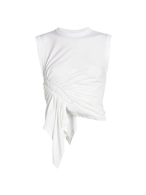 Asymetric Ruched Drape Sleeveless T-Shirt