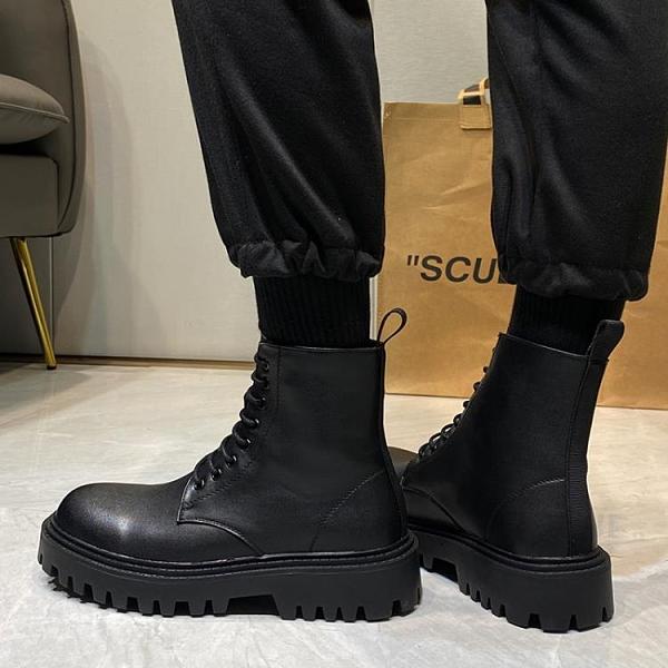 馬丁靴男款 ins馬丁靴男英倫風中幫靴子工裝靴韓版潮流百搭高幫切爾西靴皮靴