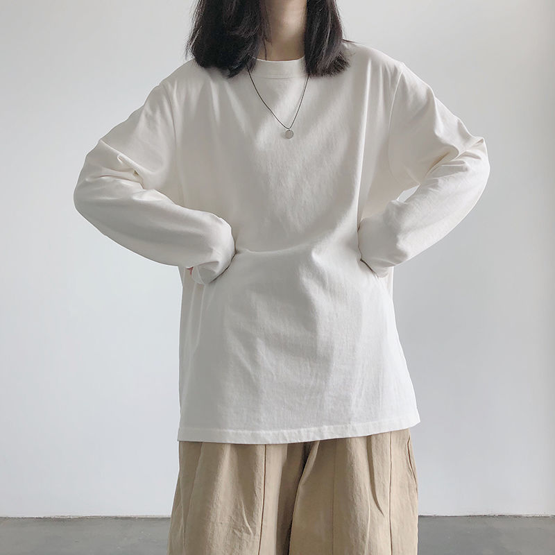 ins超火長袖T恤女春秋純色大碼內搭打底衫韓版學生外穿寬鬆上衣服