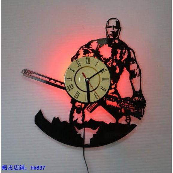 掛鐘# 爆款 黑膠時鐘 巨石強森唱片掛鐘 創意復古家居裝飾墻鐘表