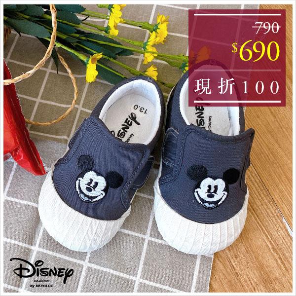 天藍小舖-迪士尼系列刺繡個性黑米奇款兒童魔鬼氈帆布餅乾鞋-單1款-$790【A27270108】