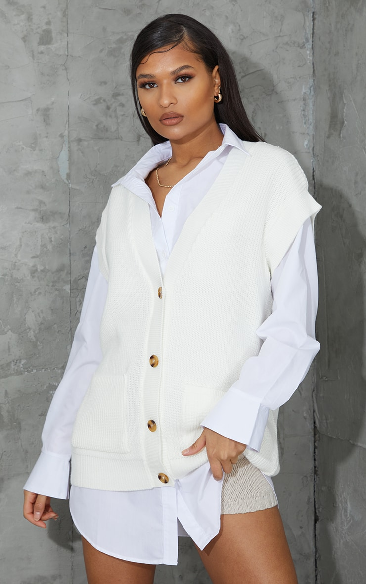 Cream Button Up Pocket Detail Sleeveless Cardigan