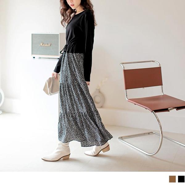 《DA8266-》假兩件拼接收腰蛋糕裙長袖洋裝 OB嚴選