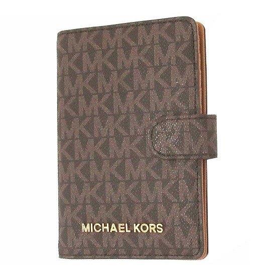 MICHAEL KORS 護照夾 證件夾 老花防刮PVC皮革 證件夾 護照夾 M93335 深咖啡色MK(現貨)