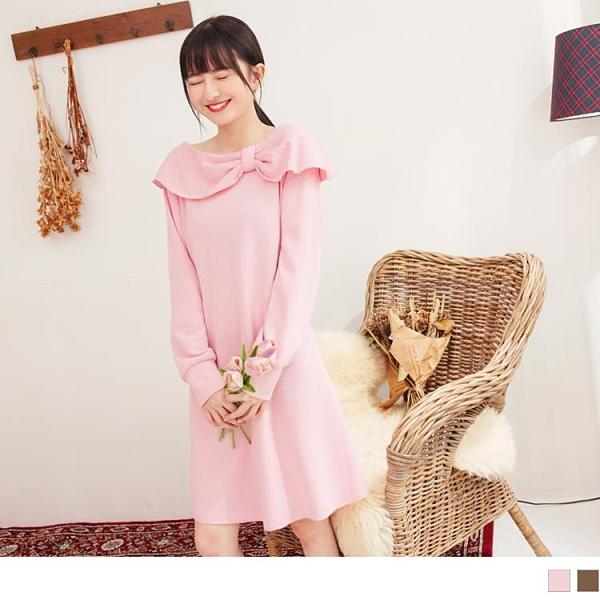 《DA8314-》造型蝴蝶結大翻領A-LINE修身洋裝 OB嚴選