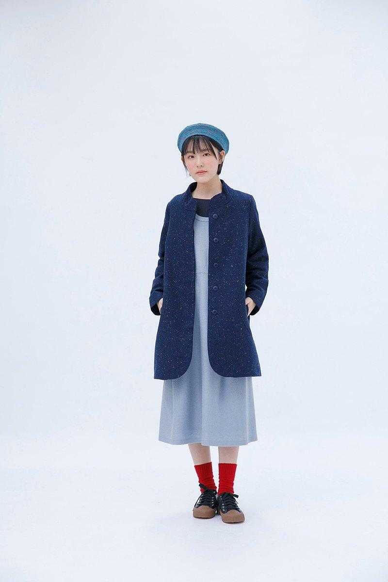 古德女子的英倫約會無領大衣-古鐘藍