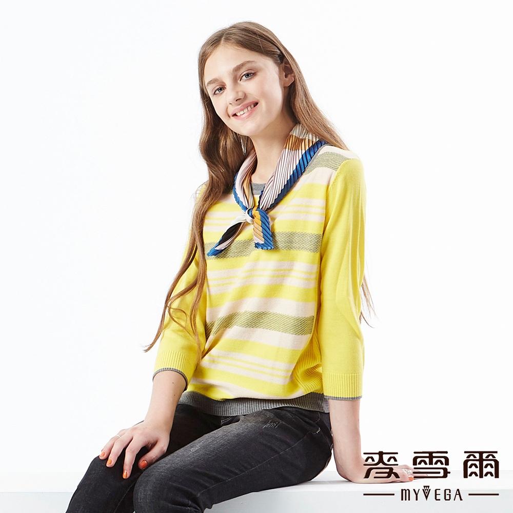 【麥雪爾】羊毛混紡組織變化針織上衣