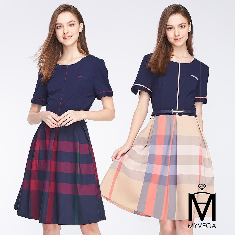 【麥雪爾】MA素面拼接格紋造型短洋裝-共2色