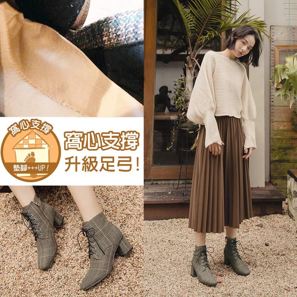【低溫警報靴款最高現折$400】Ann'S質感英倫-防水機能格紋布綁帶方頭粗跟短靴5.5cm-黑綠
