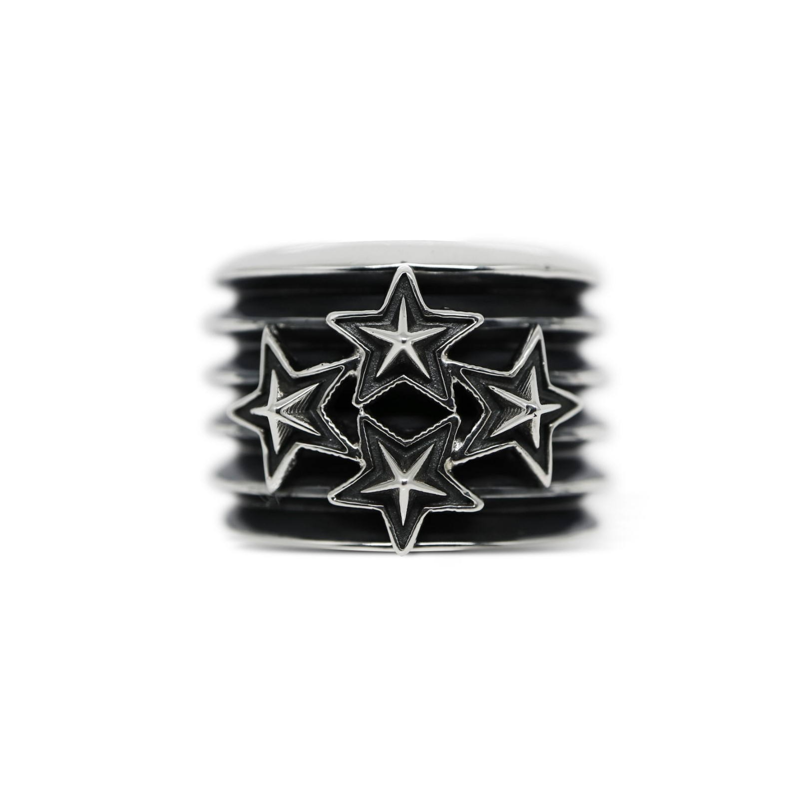 6 ROW W / 4 STARS RING [USD $730]