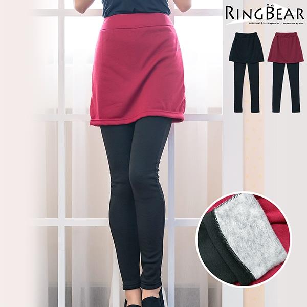 假兩件--輕柔雕塑美腿窄裙後貼口袋內刷毛假兩件式內搭褲(黑.紅XL-4L)-P123眼圈熊中大尺碼