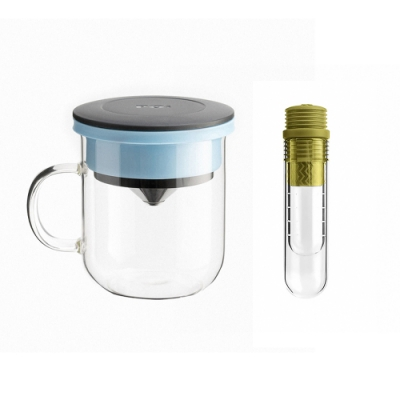 【PO:Selected】丹麥咖啡泡茶兩件組 (咖啡玻璃杯350ml-黑藍/試管茶格-綠)