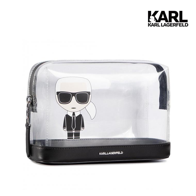 【KARL LAGERFELD】IKONIK雙層透明化妝包  (原廠公司貨)
