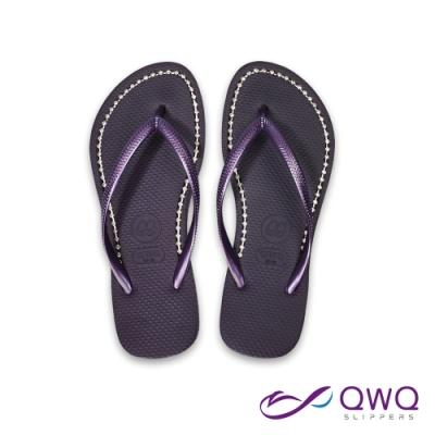 水鑽夾腳拖鞋 休閒拖鞋 鞋帶保固-璀璨面鑽系列-星空紫