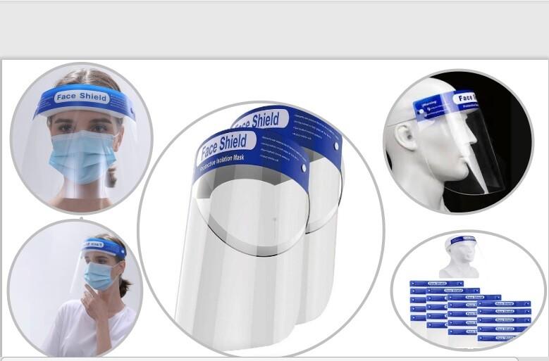 台灣出貨防護面罩隔離面罩防塵面罩防護非醫療防疫,搭機出國旅遊藍字款防飛沫 防護面罩 高清 透明