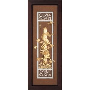 金箔畫 純金 *古典中國風系列*【金龍聚寶】...102x38cm外徑38x102cm