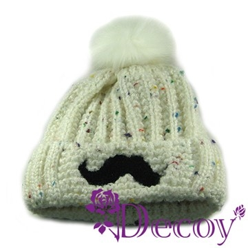 【Decoy】伯爵鬍子*加厚毛線帽/白
