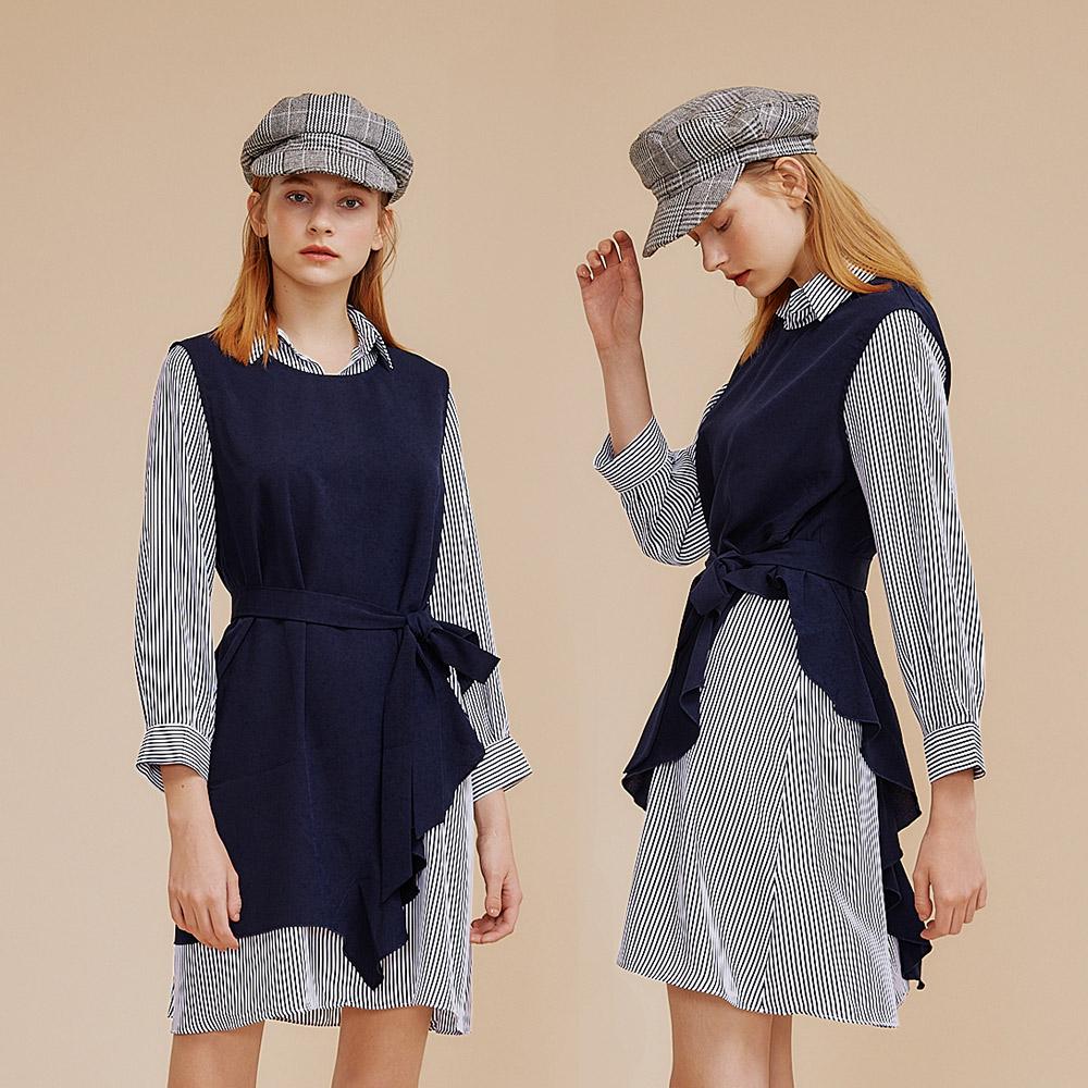 OUWEY歐薇 都會感條紋兩件式背心綁帶洋裝(藍)I63710