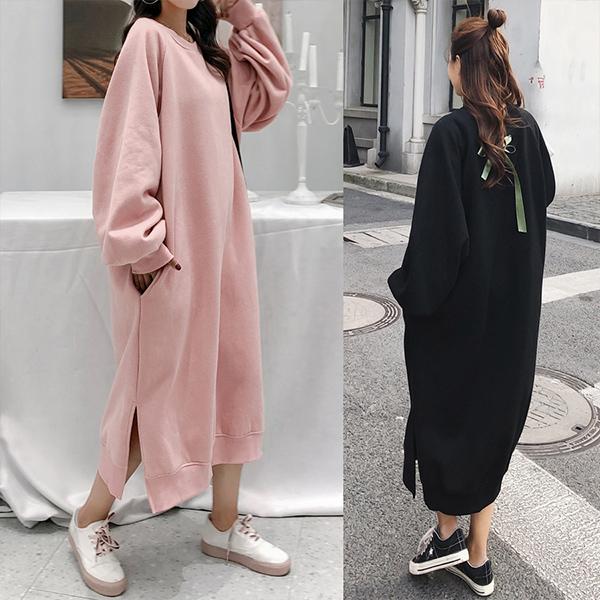 中大尺碼 洋裝 簡約開叉後絲帶加絨長版休閒洋裝【091920】DEC09|2色 限量 19LADY