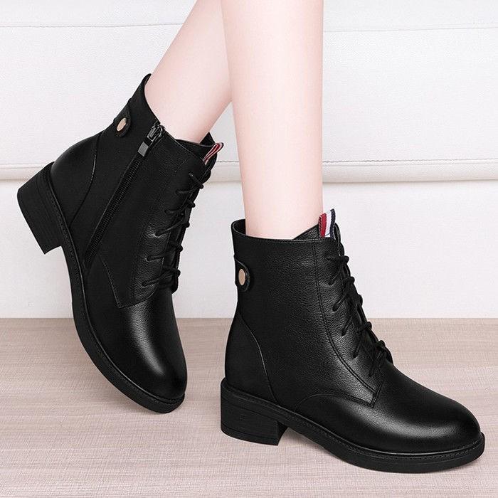 2020新款韓版馬丁靴皮鞋女士中跟平底短靴秋冬季加絨女靴保暖棉鞋