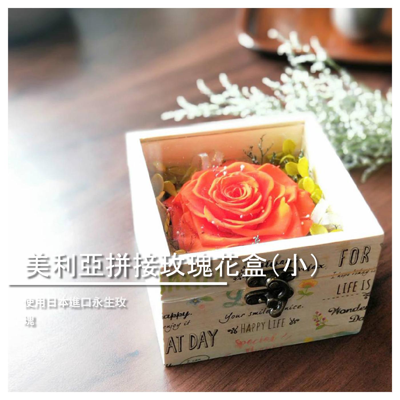 【花想容Flower Appearance】美利亞拼接玫瑰花盒(小)/永生花/乾燥花/園藝/交換禮物/情人節禮物