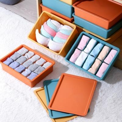 【AOTTO】撞色可愛多格分類內衣褲 襪子 收納盒 3入組(私密小物收納整理 收納盒)