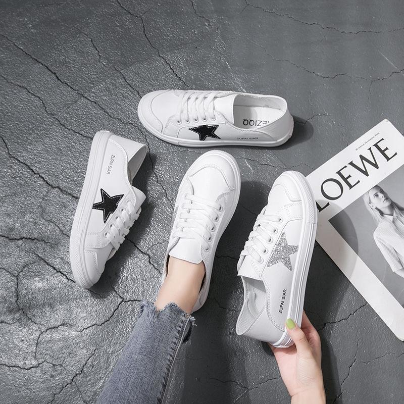 懶人鞋✨單鞋✨兩穿小白鞋 女學生韓版2020秋季新百搭ins原宿風鞋子 透氣平底半托